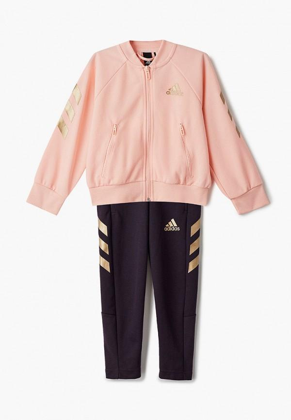 спортивный костюм adidas для девочки, разноцветный
