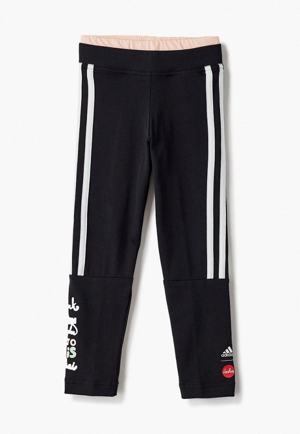 леггинсы adidas для девочки, черные