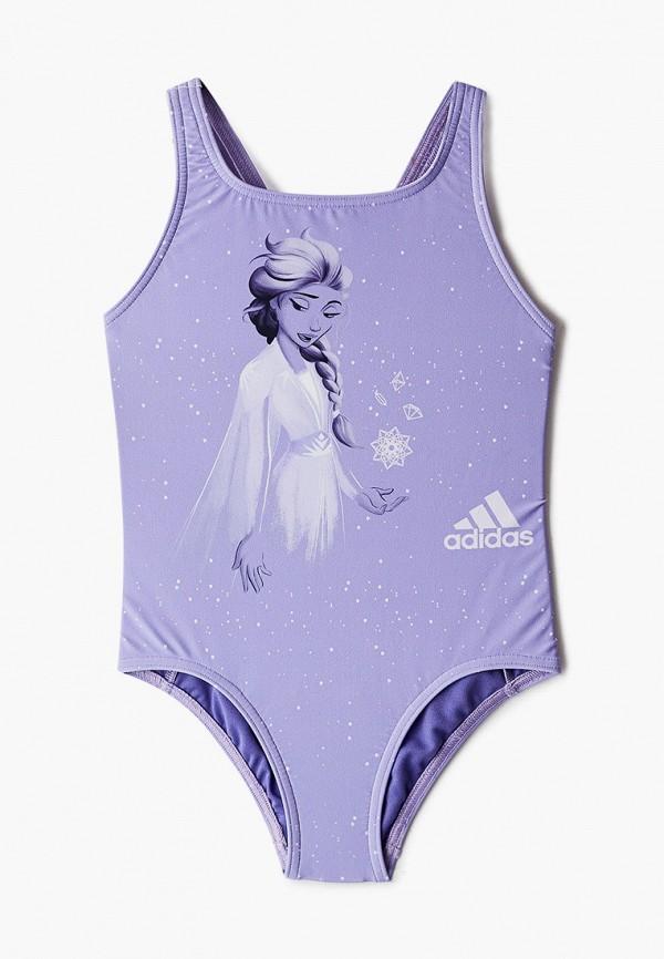 купальник adidas для девочки, фиолетовый