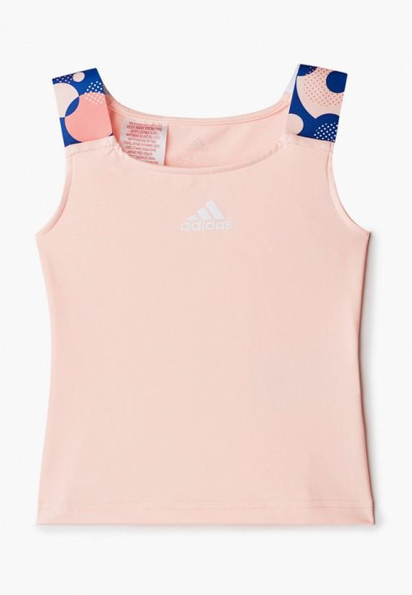 майка adidas для девочки, розовая
