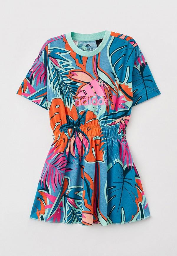 повседневные платье adidas для девочки, разноцветное