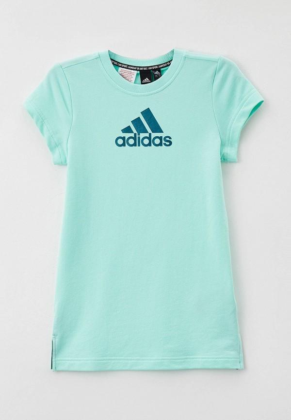 повседневные платье adidas для девочки, бирюзовое