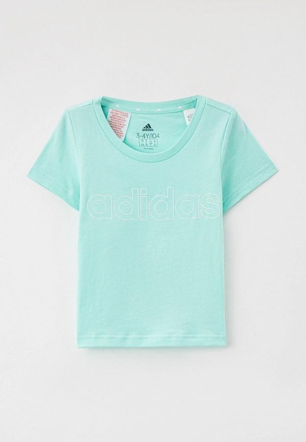 футболка с коротким рукавом adidas для девочки, бирюзовая