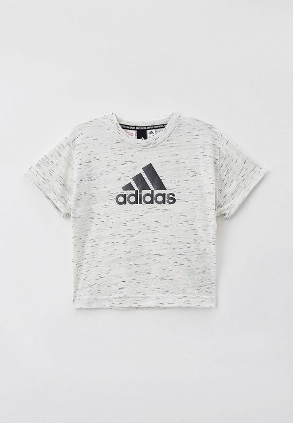 футболка с коротким рукавом adidas для девочки, серая