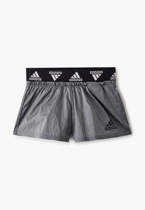 спортивные шорты adidas для девочки, серые