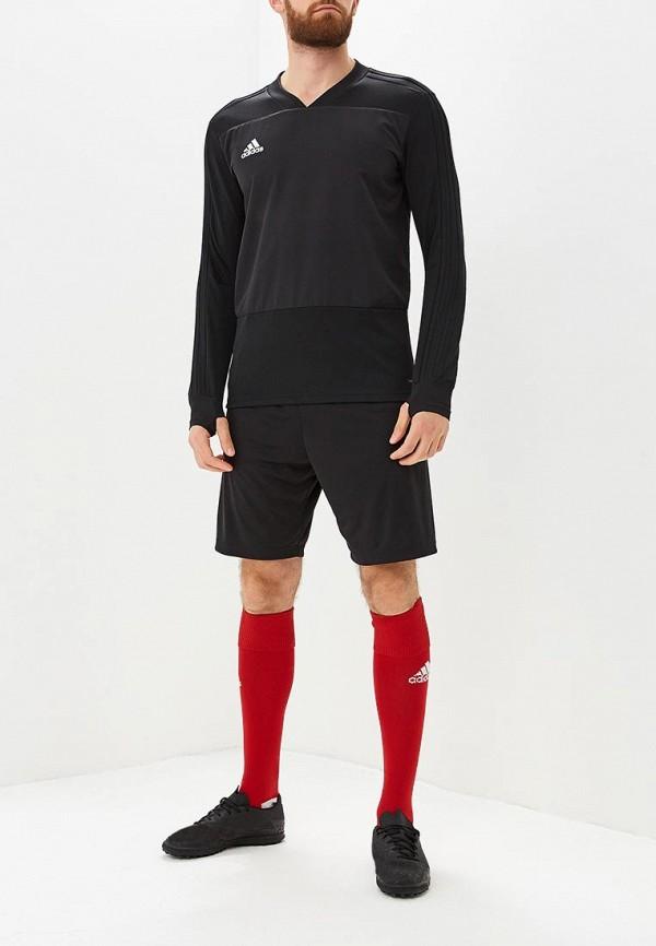 Фото 2 - Лонгслив спортивный adidas черного цвета