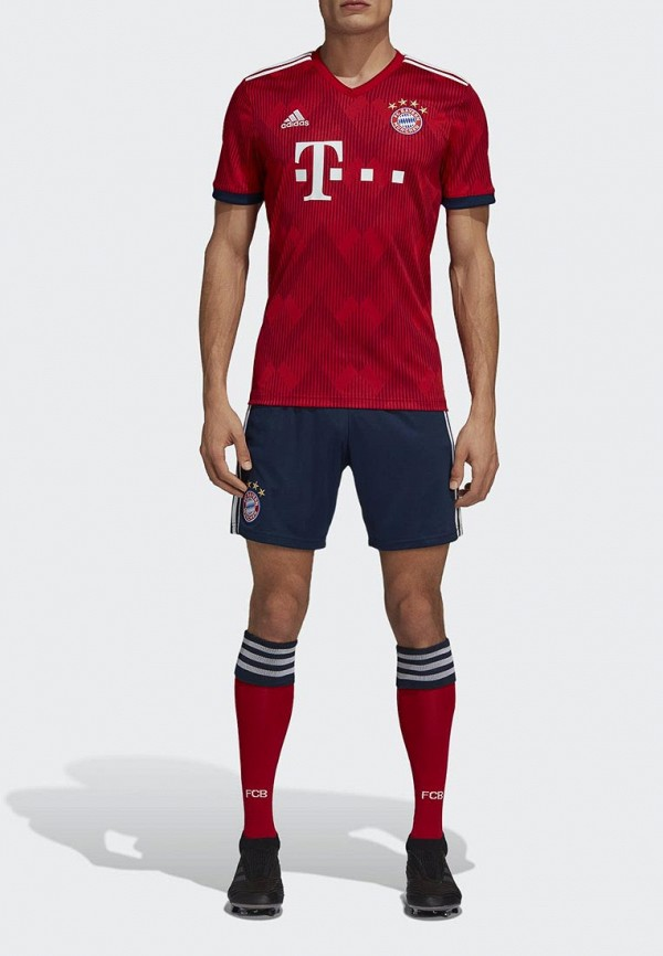 Фото 2 - Футболку спортивная adidas красного цвета