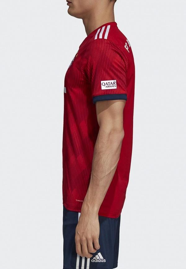Фото 4 - Футболку спортивная adidas красного цвета