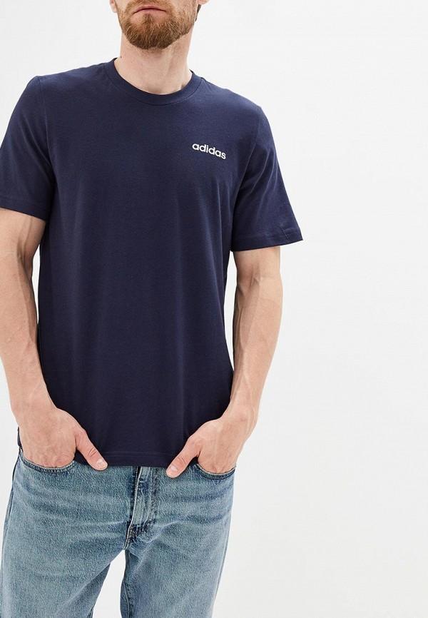 Купить мужскую футболку adidas синего цвета