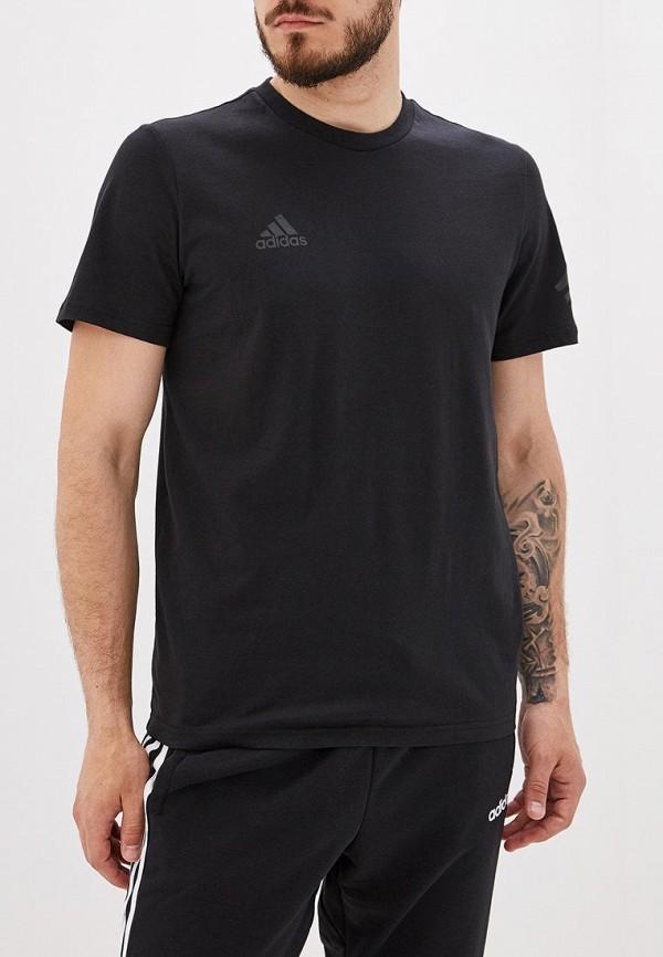 Купить мужскую футболку adidas черного цвета