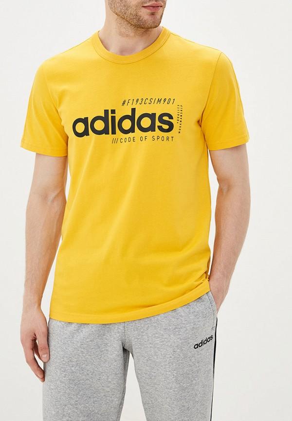 Купить Футболку adidas желтого цвета