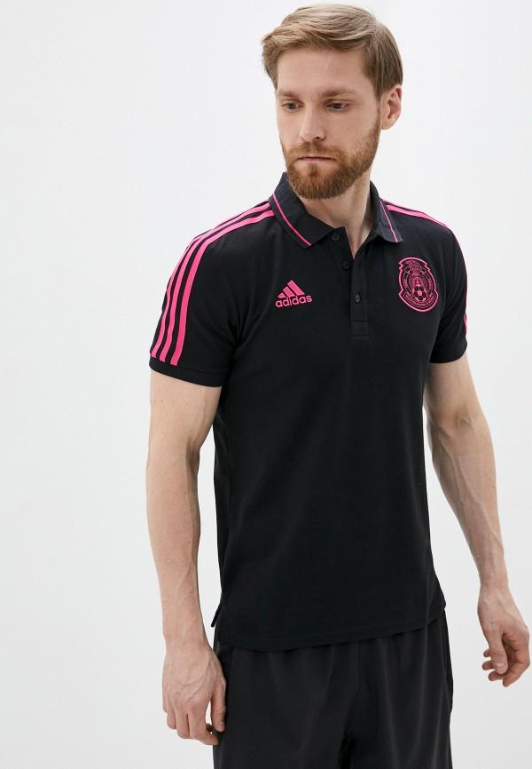 мужское поло с коротким рукавом adidas, черное