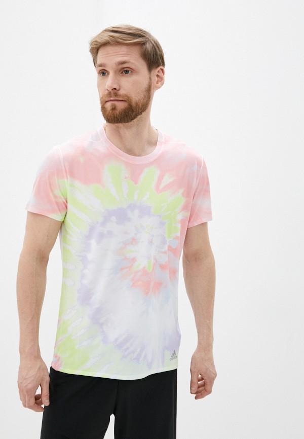 мужская футболка adidas, разноцветная