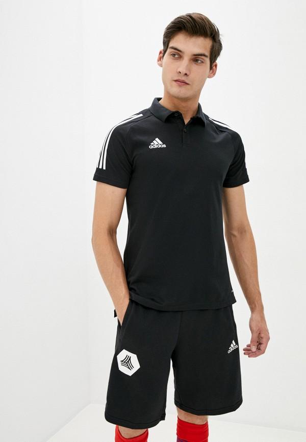 мужское поло adidas, черное