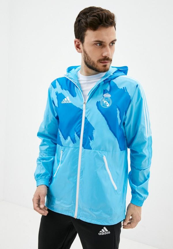 мужская ветровка adidas, голубая