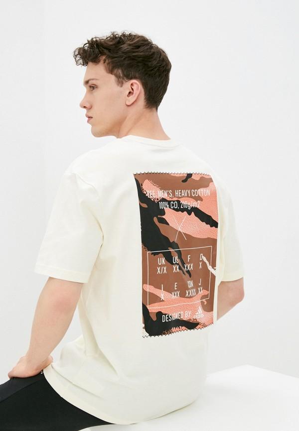 мужская футболка adidas, бежевая