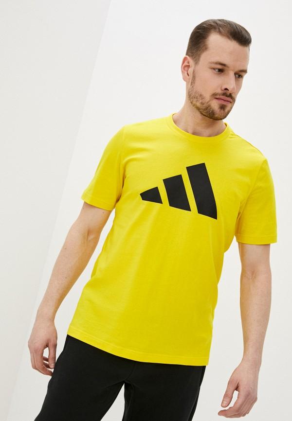 мужская футболка с коротким рукавом adidas, желтая