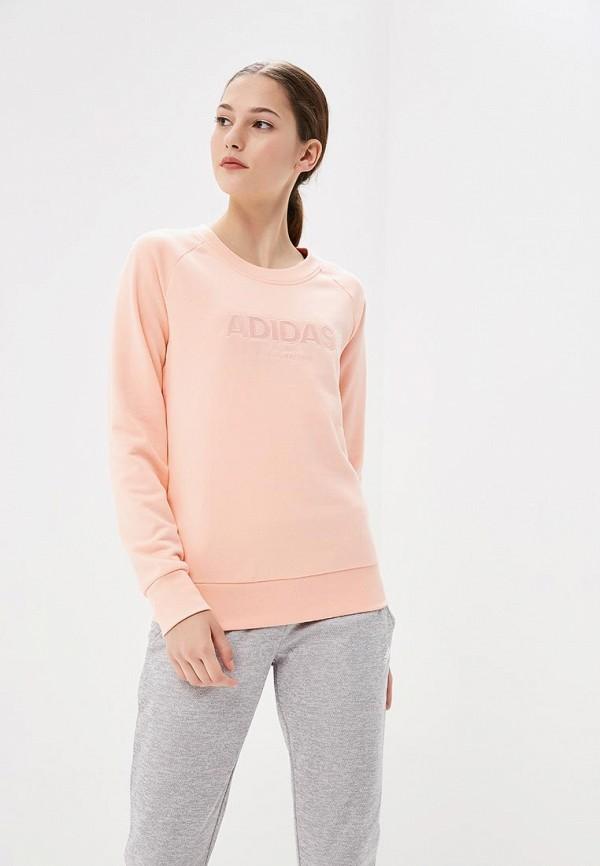 Купить Свитшот adidas, ESS ALLCAP Swt, AD002EWCDHH5, коралловый, Осень-зима 2018/2019