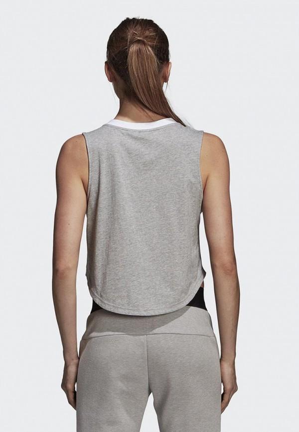 Фото 2 - Майку спортивная adidas серого цвета