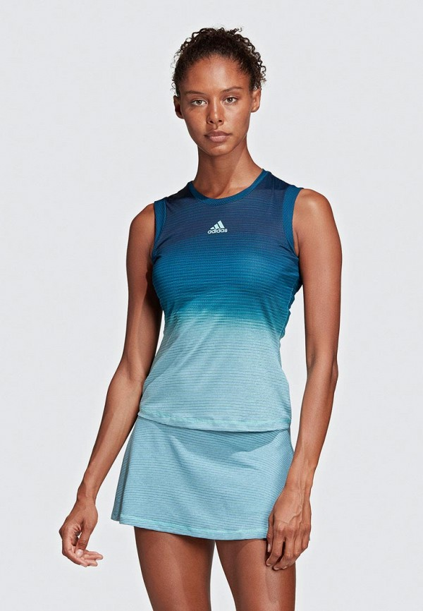 женская спортивные майка adidas, синяя