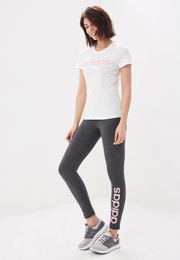 Фото 2 - Леггинсы adidas серого цвета