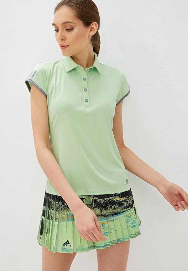 женское поло adidas, зеленое