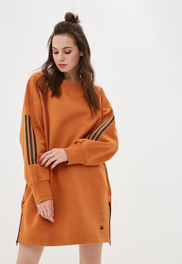 женский свитшот adidas, оранжевый