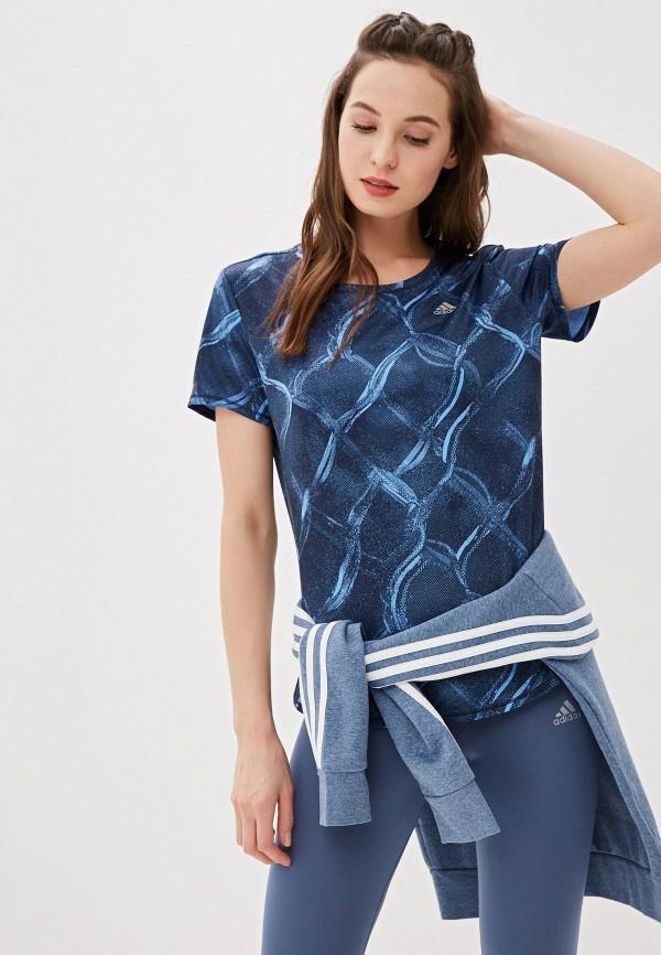 женская футболка adidas, синяя