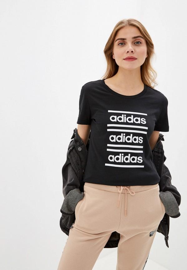женская футболка adidas, черная