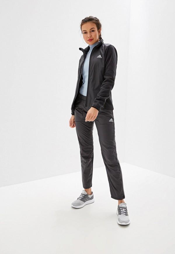 Фото 2 - Брюки утепленные adidas серого цвета
