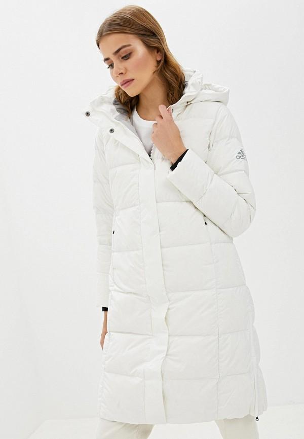 женский пуховик adidas, белый