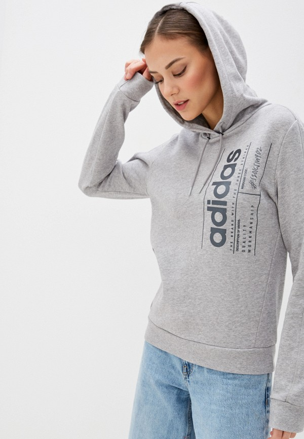 женские худи adidas, серые