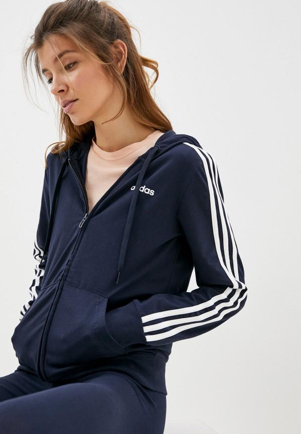 женская спортивные толстовка adidas, синяя