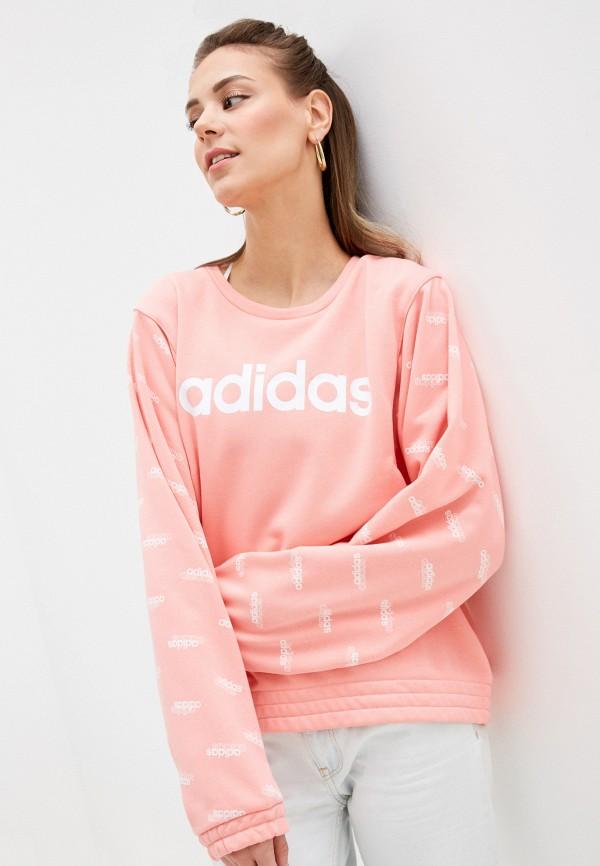 женский спортивные свитшот adidas, розовый