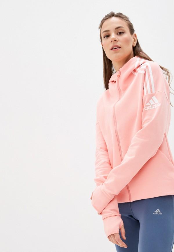 женская спортивные толстовка adidas, розовая