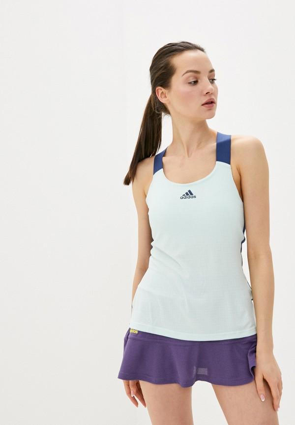 женская спортивные майка adidas, бирюзовая
