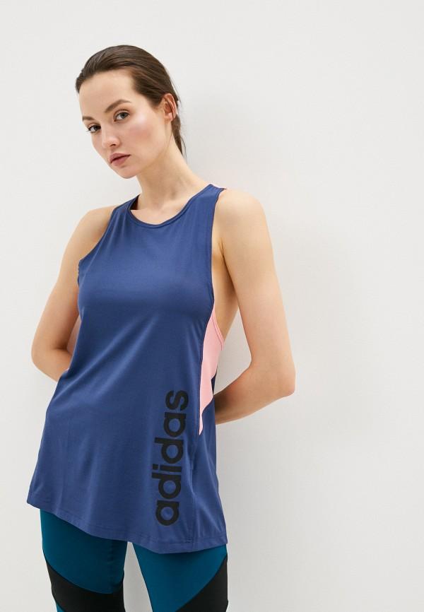 женская майка adidas, синяя