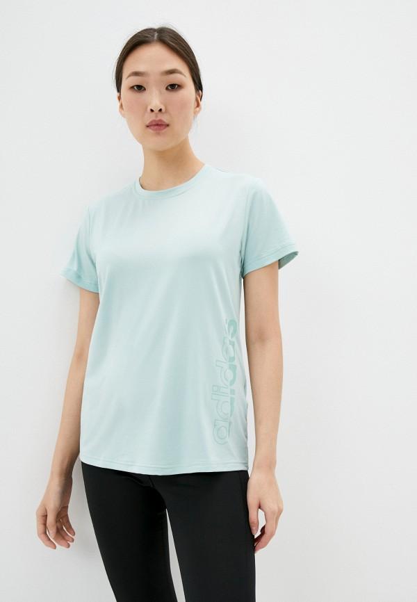 женская спортивные футболка adidas, бирюзовая