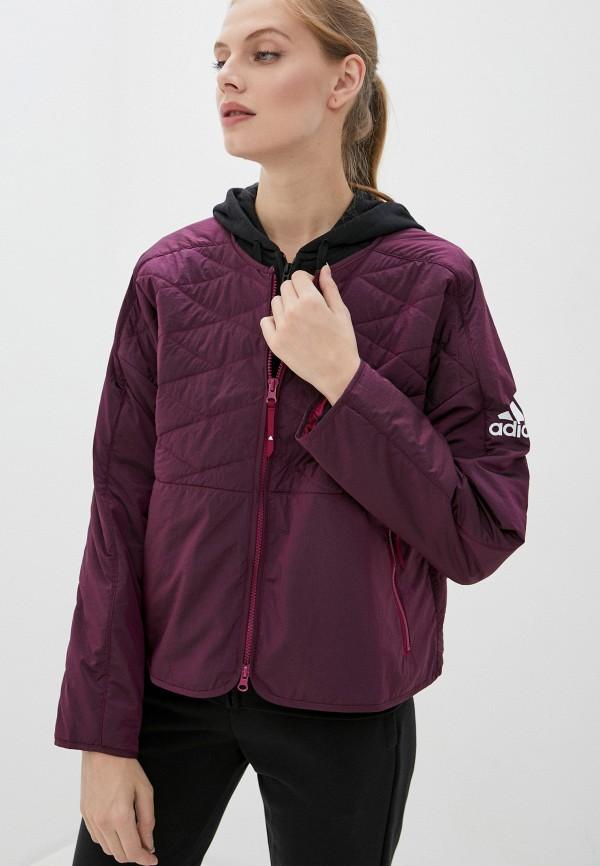женская спортивные куртка adidas, бордовая