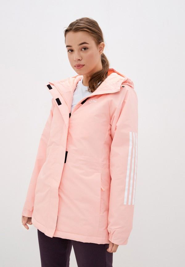 женская спортивные куртка adidas, розовая