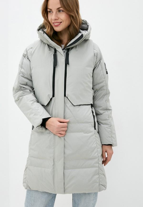 женский пуховик adidas, серый