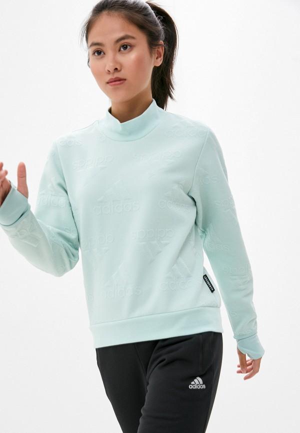 женский свитшот adidas, бирюзовый