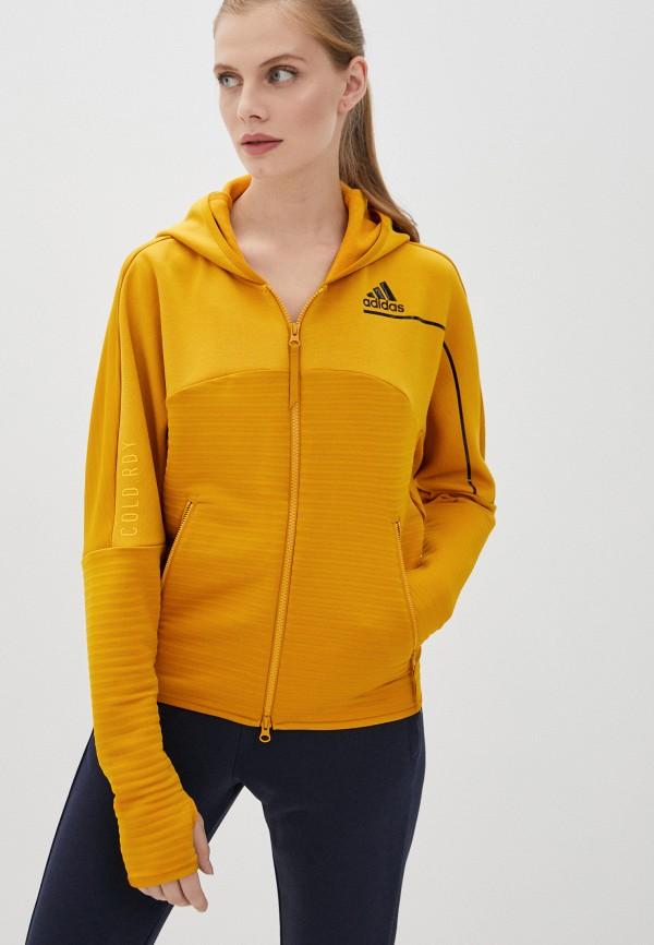 женская спортивные толстовка adidas, желтая