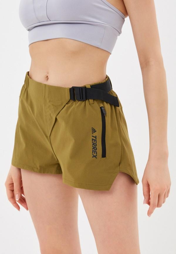женские спортивные шорты adidas, хаки