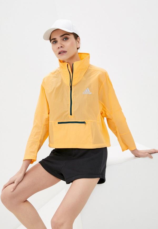 женская ветровка adidas, оранжевая