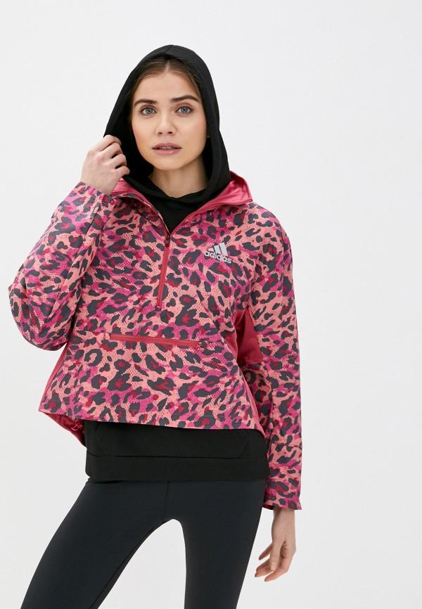 женская ветровка adidas, розовая