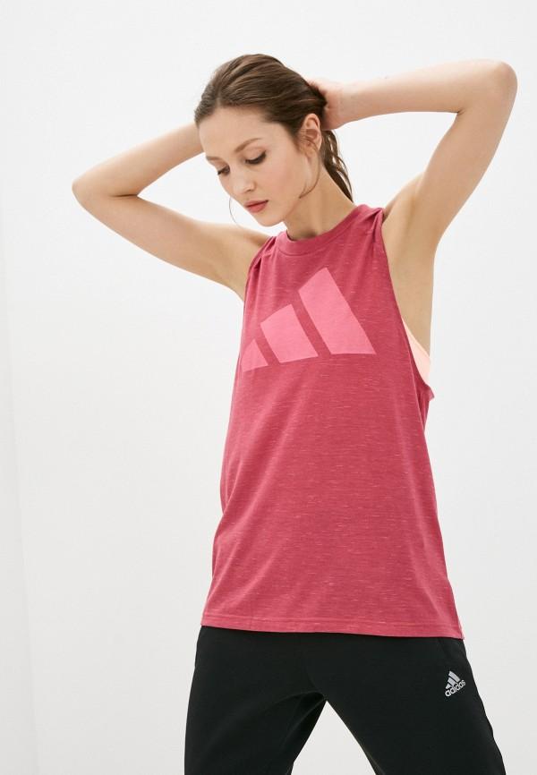 женская спортивные майка adidas, розовая