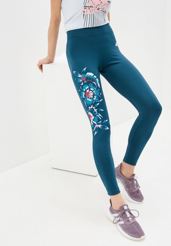 женские спортивные леггинсы adidas, бирюзовые