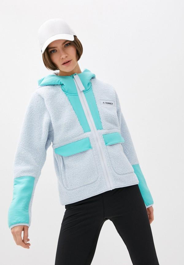 женская спортивные толстовка adidas, голубая