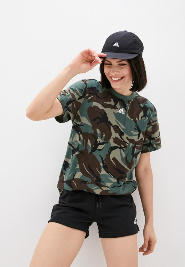женская спортивные футболка adidas, хаки